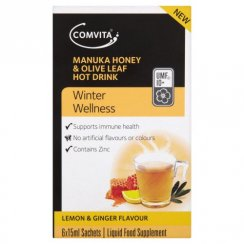 Comvita Manuka Honey/ Olive Leaf Lemon and Ginger Hot Drink Pack of 6
