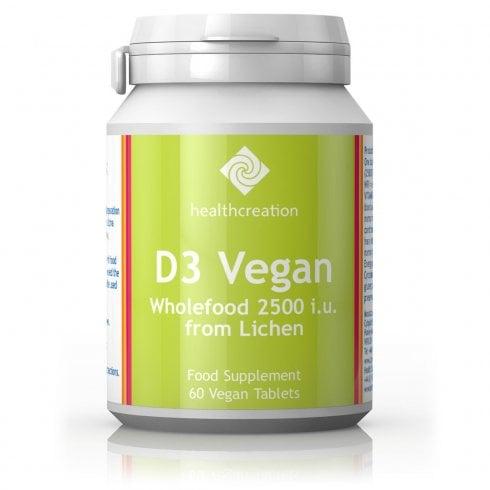 Cytoplan D3 Vegan Wholefood 2500 iu from Lichen (Health Creation) 60's