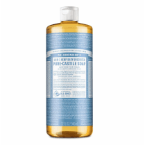 Dr Bronner's Magic Soaps 18-in-1 Hemp Unscented Baby-Mild Pure-Castile Liquid Soap 946ml