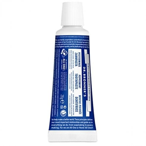 Dr Bronner's Magic Soaps All-One Peppermint Travel Toothpaste 28g