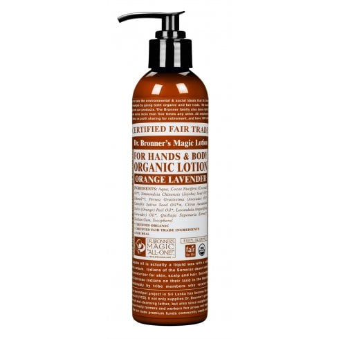 Dr Bronner's Magic Soaps For Hands & Body Organic Lotion Orange Lavender 237ml