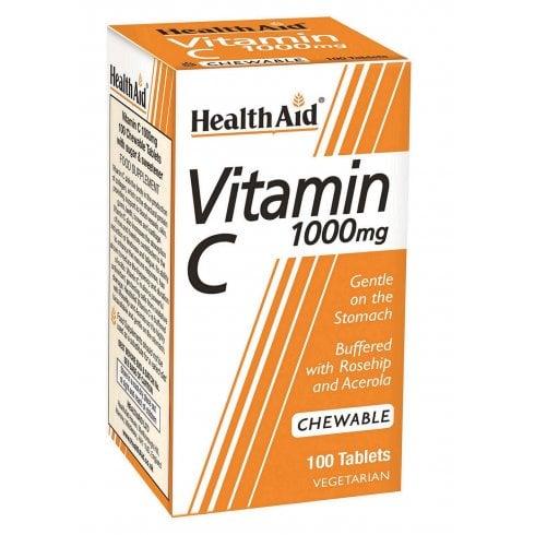 Health Aid Vitamin C 1000mg Chewable Orange Flavour 100's