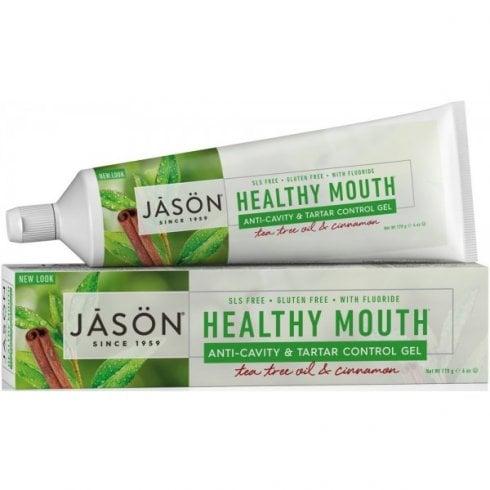 Jason Healthy Mouth Anti-Cavity & Tartar Control Gel Tea tree Oil & Cinnamon 170g