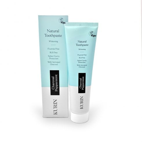 Kurin Natural Toothpaste Whitening Fluoride Free Charcoal Peppermint 100ml