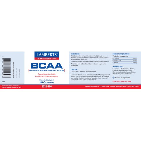 Lamberts BCAA (branch chain amino acids) - 180 caps