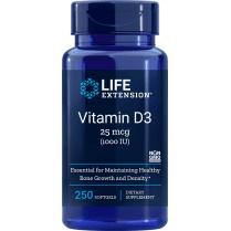 Life Extension Vitamin D3 25 mcg (1,000 IU) - 250 Softgels