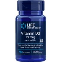 Life Extension Vitamin D3 25 mcg (1,000 IU) - 90 Softgels