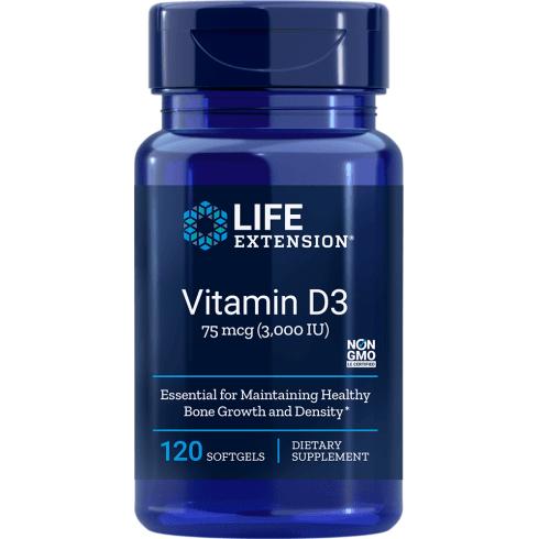 Life Extension Vitamin D3 3,000 IU - 120 Softgels