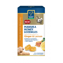 MGO 400+ Manuka Honey Lozenges with Ginger & Lemon  65gm 15's