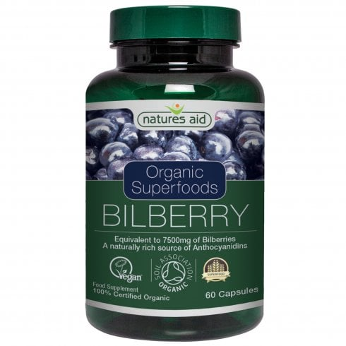 Natures Aid Organic Superfoods Bilberry 7500mg 60's