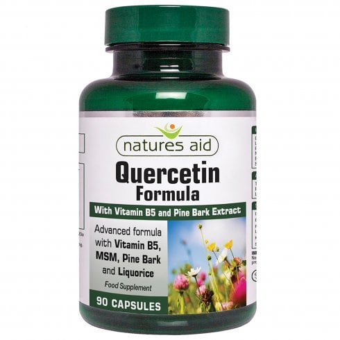 Natures Aid Quercetin Formula with Vitamin B5, Pine Bark Extract, MSM & Liquorice 90's