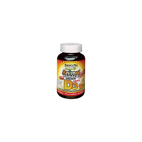 Nature's Plus Animal Parade Vitamin D3 500iu 90's - Chewables - Natural Black Cherry Flavour