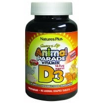 Nature's Plus Source of Life Animal Parade Vitamin D3 Natural Cherry Flavour 90's