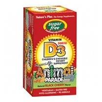 Sugar Free Animal Parade Vitamin D3 500iu Chewable 90's - Natural Black Cherry Flavour