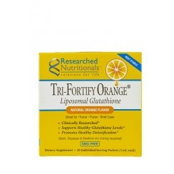 Researched Nutritionals Tri-Fortify Orange Liposomal Glutathione & Vitamin C 20 Pack Box