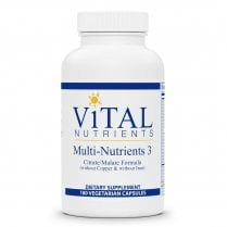 Vital Nutrients Multi-Nutrients 3 Citrate/Malate without Copper & Iron - 180 Capsules