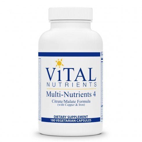 Vital Nutrients Multi-Nutrients 4 Citrate Formula with Copper & Iron - 180 Capsules