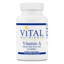 Vital Nutrients Vitamin A (from Fish Liver Oil) 6.5mg 25,000IU - 100 Softgels