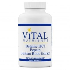 Betaine HCL, Pepsin and Gentian Root Extract - 225 Capsules
