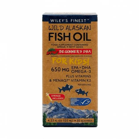 Wiley's Finest Wild Alaskan Fish Oil Beginners DHA for Kids 650mg 125ml