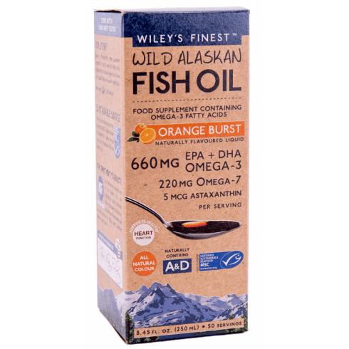 Wiley's Finest Wild Alaskan Fish Oil Orange Burst Liquid 250ml