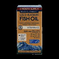 Wiley's Finest Wild Alaskan Fish Oil Vitamin K2 500mg 60's
